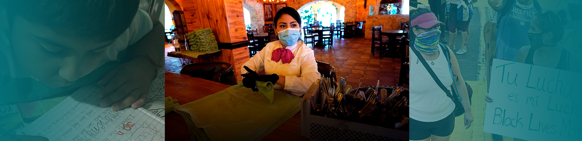 slider image with woman working in restaurant
